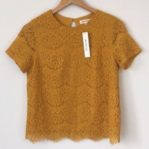 Monteau Lace Top Mustard Yellow